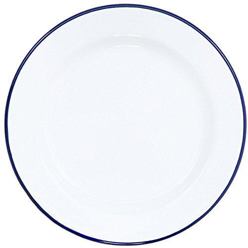 (Enamelware Flat Salad Plate, 8 inch, Vintage White/Blue)