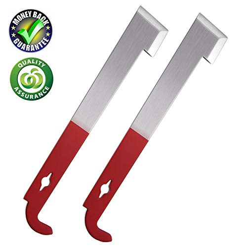 Winzwon Beekeeping Supplies j Hook Hive Tool 2 Pack Stainless Beekeeping Frame Lifter and Scraper with Red Part for Beekeepers