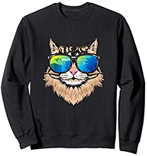 Sunglasses Maine Coon  Cat Lovers Holiday Cat Mom Sweatshirt T-shirt | Size S - 5XL