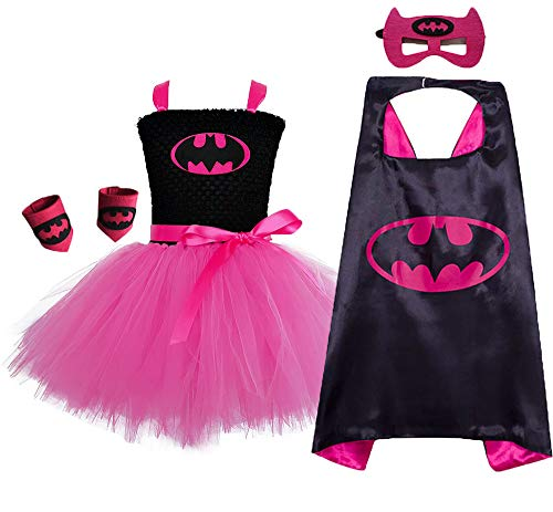 Toddler Girls Superhero Costume Tutu Set Halloween Party Dress Up Birthday Gift(Hot Pink&Black, Medium) -