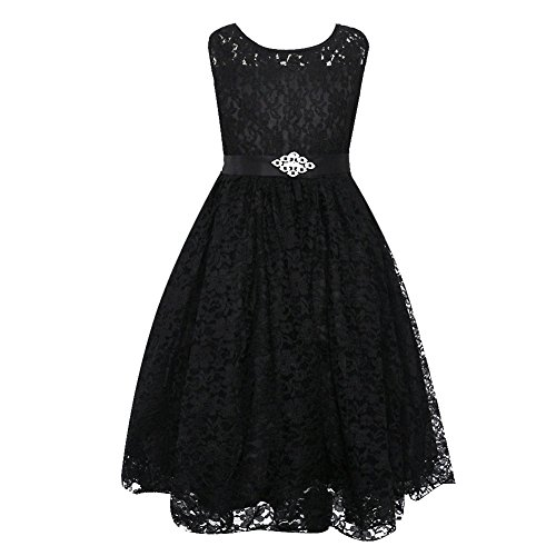 LPATTERN Little Girls Tulle Pleated Lace Dress Flower Girl Wedding Party Dresses Black 11-12years (Lined Satin Little Black Dress)