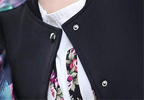 Blouson Elgante Chic Fleur Motif Dsinvolte Outerwear Vintage Manteau Longues Pilote Manches Outdoor Bomber Printemps Noir Femme Splicing Mode Veste Automne RPxzRdnq