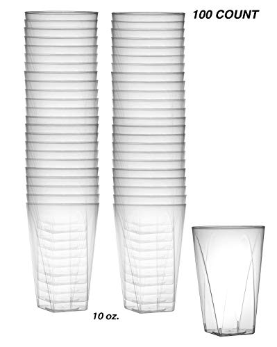 Heavy Duty 10 oz Crystal-Clear Hard Plastic | Square Bottom Tumblers, | 100 Count | Disposable or Reusable ()