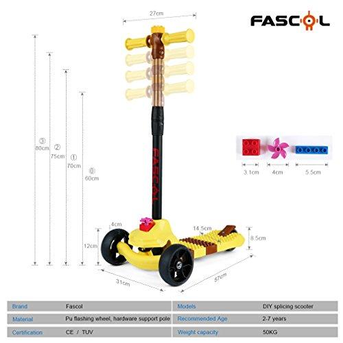 Fascol Multifunción 3 en 1 Patinete de 3 Ruedas Niños Scooter para 1 a 10 Años Niños Max carga 50 kg, Rosa (Amarillo)
