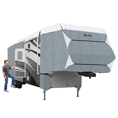 Classic Accessories OverDrive PolyPRO 3 Deluxe Extra Tall 5th Wheel Cover or Toy Hauler Cover, Fits 33' - 37' RVs - Max Weather Protection with 3-Ply Poly Fabric Roof RV Cover (75963)