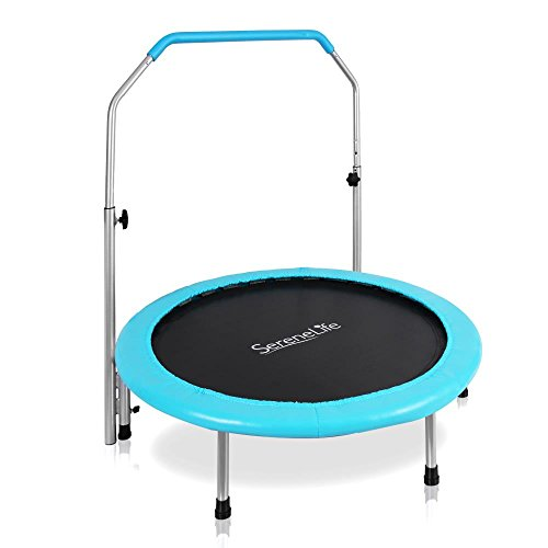 SereneLife Portable & Foldable Elastic Trampoline | Cardio Trainer with Handle | Padded Frame Cover and Handle Safe for Kids