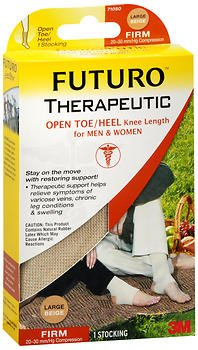 Firm Heels (FUTURO Therapeutic Knee Length Stocking Open Toe/Heel Firm Large Beige 1 Each (Pack of 2))