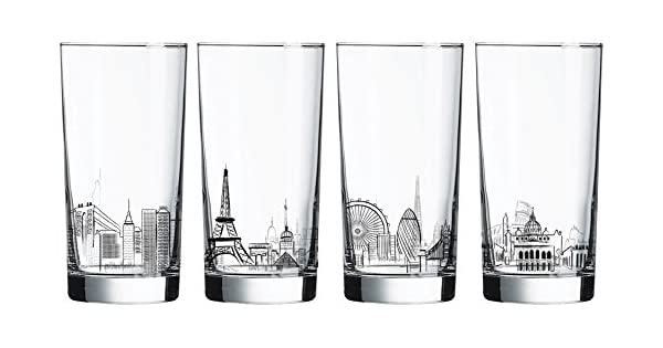 Clear N4486 Luminarc 4 Piece Skylines 15.25 oz Assorted Decorated Coolers