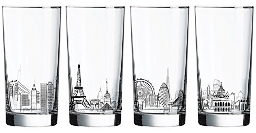 Luminarc 4 Piece Skylines 15.25 oz Assorted Decorated Coolers, Clear (Skyline Wine Glass)