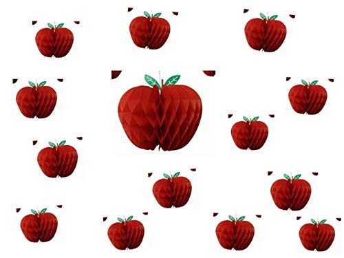 BeesClover Back to School 20pc Apple Shape Honeycombs Decoration Apple Garland Honeycomb Tissue Paper Fruit Hanging Apple Themed Party Show