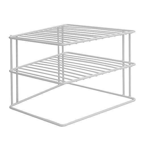 2 Tier Cupboard Corner Shelf   Kitchen Storage Organiser   Space Saving Shelf Rack   Plate & Pan Shelves   Mug & Cup…