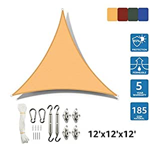 SunnyJoy Triangle 12'x12'x12' Sun Shade Sail with Stainless Steel Hardware Kit, Perfect for Outdoor Patio Garden, Sand