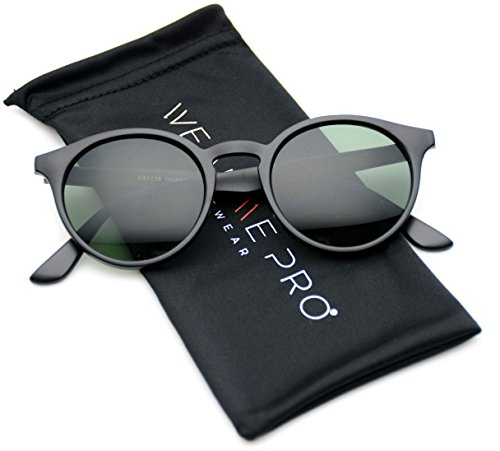 WearMe Pro Classic Small Round Retro Sunglasses, Black Frame/Green - Glasses Black And Green Frames