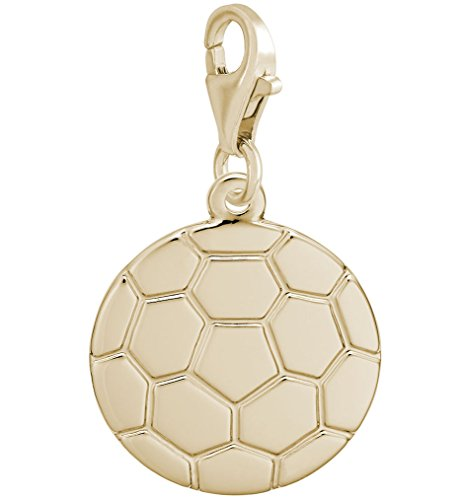 14k Yellow Gold Soccer Ball Charm With Lobster Claw Clasp, Charms for Bracelets and Necklaces (Yellow Ball Gold Soccer 14k)