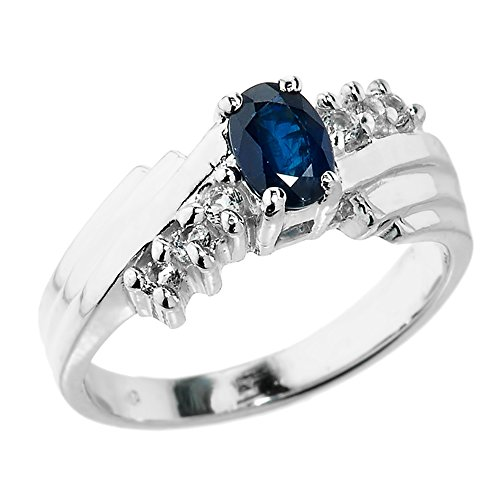 Polished 10k White Gold Diamond-Accented Layered Band 7-Stone Blue Sapphire Ring (Size 9)