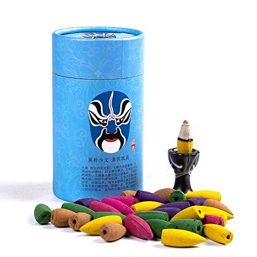 Backflow Incense Cones 80 Pcs - Includes:Jasmine, Lavender, Sandalwood, Rose, Osmanthus and Wine Glass Incense Burner Holder
