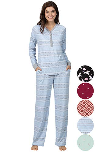 (Addison Meadow Pajamas for Women - Women's Pajamas, Blue Fair Isle, S, 4-6)