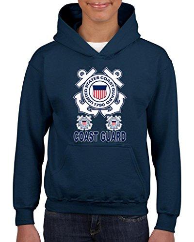 Artix United States Coast Guard US Coast Guard Unisex Hoodie For Girls and Boys Youth Kids Sweatshirt Clothing Medium Navy Blue -