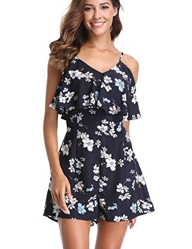(Dilgul Rompers for Women Summer V Neck Floral Print Sling Short Jumpsuit Blue M)