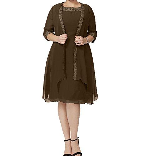 A Braun Festlichkleider Chiffon Partykleider Knielang Linie Charmant Abendkleider Elegant Damen Brautmutterkleider Y6Ofn6qZC