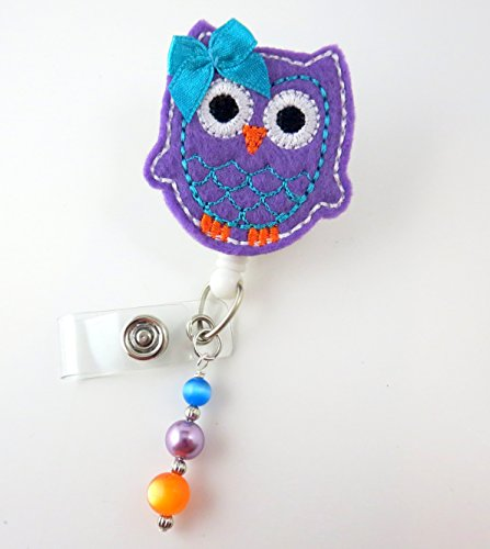Purple Owl - Nurse Badge Reel - Retractable ID Badge Holder - Nurse Badge - Badge Clip - Badge Reels - Pediatric - RN - Name Badge Holder