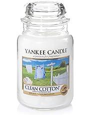 Yankee Candle Grote Geurkaars In Glas, Clean Cotton, Brandduur Tot 150 Uur