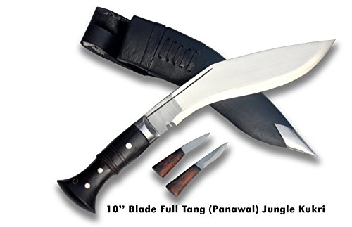 "Authentic Gurkha Kukri Knife -10.25"" blade Jungle or PRI type full tang, dark rosewood handle with lanyard hole, leather sheath (16 overall length)- …"