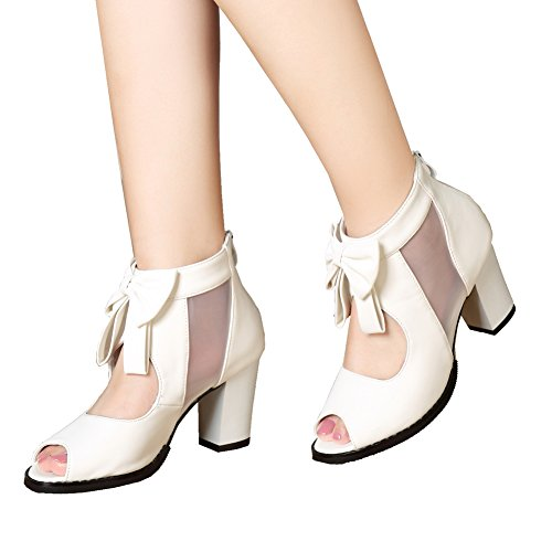 getmorebeauty Womens Peep Toe Cut Out Bows Vintage Chunky Heel Ankle Boots (9 B(M) US, White)