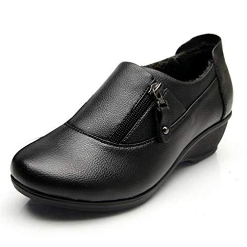 Zapatos TacóN De Invierno Zip Bajo Vestido De Deslizamiento Negro OtoñO Las SeñOras Trabajo Plana Pelaje Mujeres Lado Mocasines Plataforma De Calzado TacóN En 4nqv8IYO