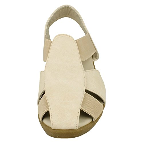 Down To Earth Ladies Casual Sling Back Wedge Sandals Beige Gs02ZC4i