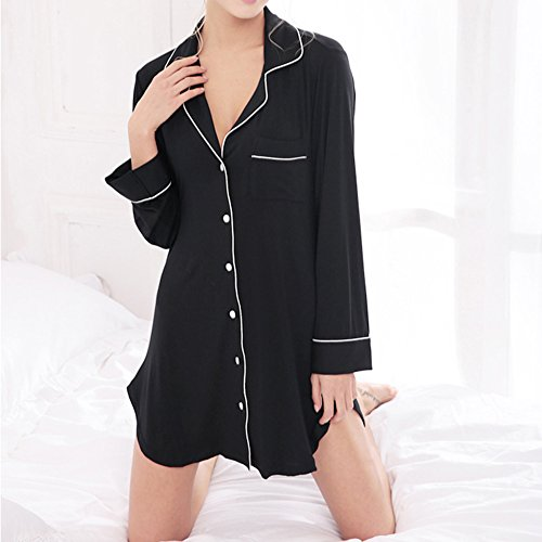 camicia Manica Scollo iBaste Camicia S a Nero V lunga Dormire notte da XL qwIwnfFUg