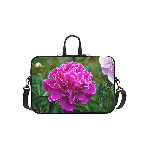 Laptop Bag Pink Flowers Peonies Flowering Shoulder Bag Crossbody Bag Double Zipper for Men Women Students Unisex-Adult Business Travelling School Business Trip