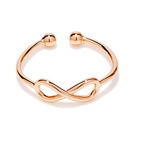 CHOA Endless Love Adjustable Infinity Rings - Hollow Filigree Infinity Figure 8 Bridal Ring (rose gold) (Filigree Jewelry Band Box)