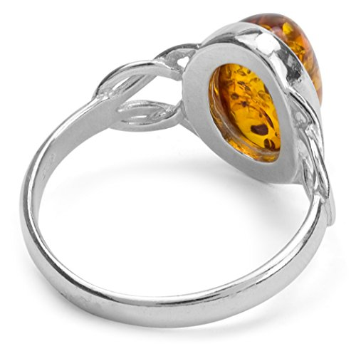 Ian and Valeri Co. Amber Sterling Silver Oval Celtic Ring