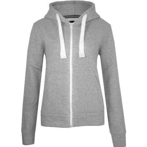 Fashion Wardrobe Womens Plain Hoodie Ladies Hooded Zip Zipper Top Sweat Shirt Jacket Coat Sweater (USA 6 / UK 6-8 (Small), Grey) -