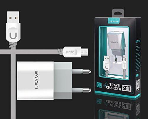 Pack Cargador de carga rapida 2.4A Europeo Blanco 2 pines Usams + Cable Usams u-trans gris 1m de USB a micro USB universal: Amazon.es: Electrónica