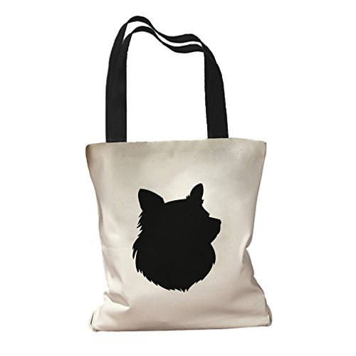 lhouette Canvas Colored Handles Tote Bag - Black ()
