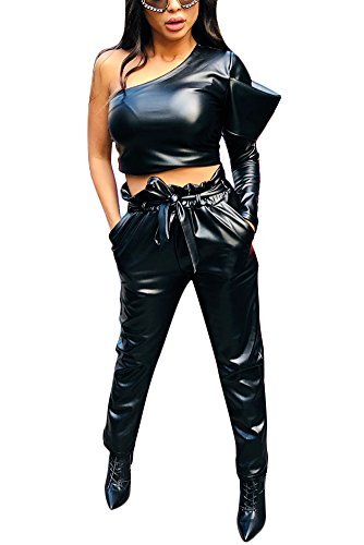 Fadvanes Womens Sexy Black PU Faux Leather Long Pants Trousers With Belt L by Fadvanes