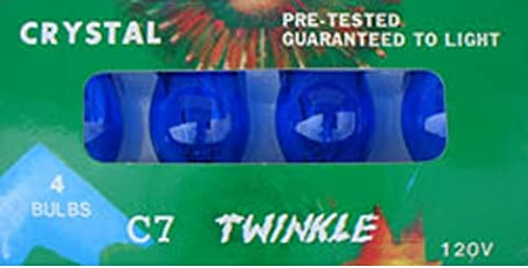 C-7 Blue transparent replacement bulbs for twinkle lights or blinking lights (C7 Twinkling Bulbs)