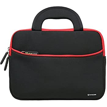 8.9 - 10.1 inch Tablet Sleeve, Evecase 8.9 ~ 10.1 inch Ultra-Portable Neoprene Zipper Carrying Sleeve Case Bag with Accessory Pocket - Black/ Red
