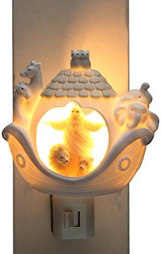 Cosmos Gifts 33270 Ceramic Noah's Ark Night Light, 3-3/8-Inch