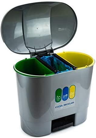 Bittamina Cubo de Basura 50 litros con 3 Compartimentos para Reciclaje Color Gris.: Amazon.es: Hogar