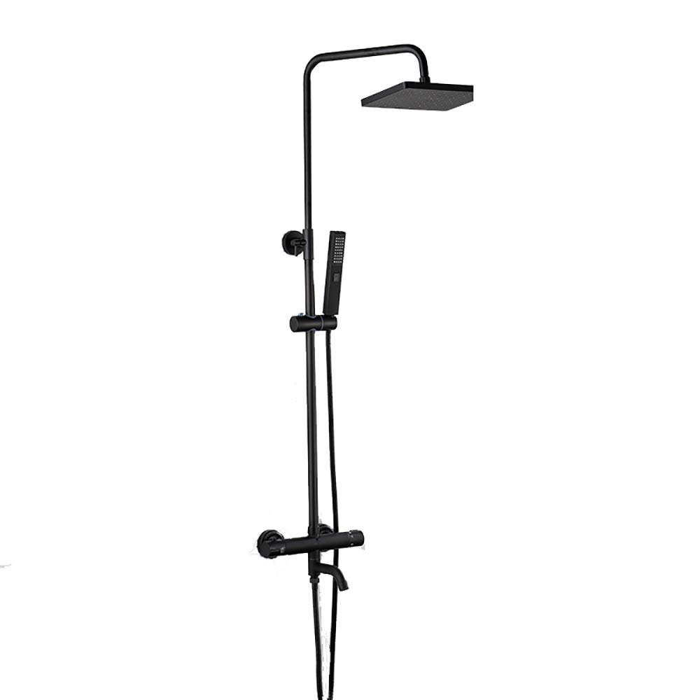 Black B YYF-SHOWER Shower Systems Intelligent Thermostatic Shower Set, Full Copper Body, Bathroom redatable Cold hot Shower Faucet Free Lifting Punch Inssizetion (color   BLACK, Size   C)