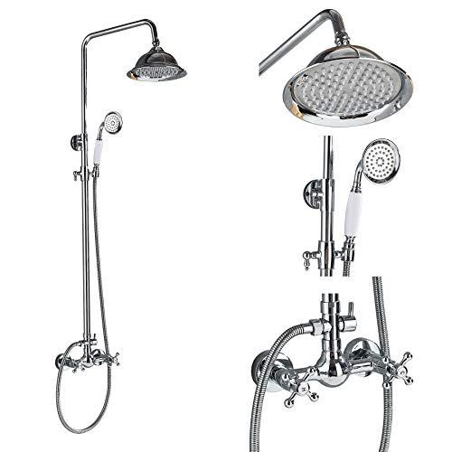(Rozin Bathroom 2 Knobs Mixer Faucet 8-inch Rainfall Shower Set with Handheld Spray Chrome Finish)