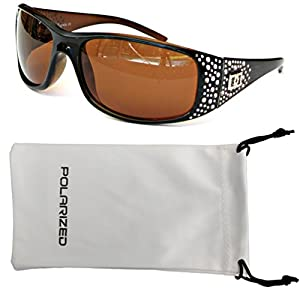 Vox Women's Polarized Sunglasses Designer Fashion Eyewear w/ Microfiber Pouch – Black & Amber Frame – Amber Lens