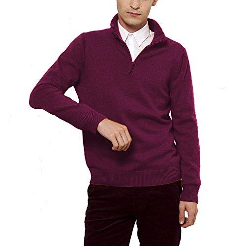 Parisbonbon Men's 100% Cashmere Mock Neck Sweater Color Burgundy Size XL