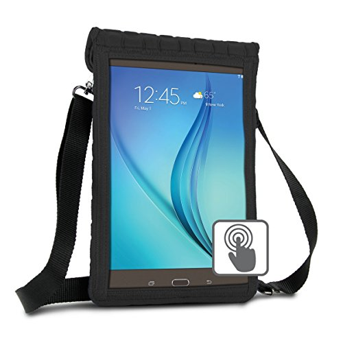 10 Inch Tablet Case Holder Neoprene Sleeve Cover by USA Gear (Black) Built-in Screen Protector & Carry Strap - Fits Samsung Galaxy Tab A 10.1, Insignia FLEX 10.1, Acer ICONIA ONE 10, more 10