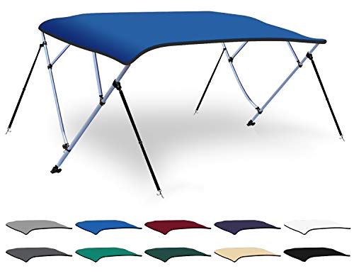 XGEAR 3-4 Bow Bimini Top Boat Cover with 4 Straps, Mounting Hardwares and Storage Boot, Full Size in Color Grey, Pacific, Navy, Black, Beige, Green, White (Pacific Blue, 4 Bow: 8'L x 54