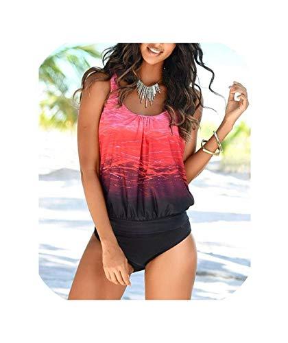 (Swimwear Sexy Swimsuit Women Plus Size Tankini Sets Swim Vintage Beach Wear Bathing Suits,YH1983R1,M)