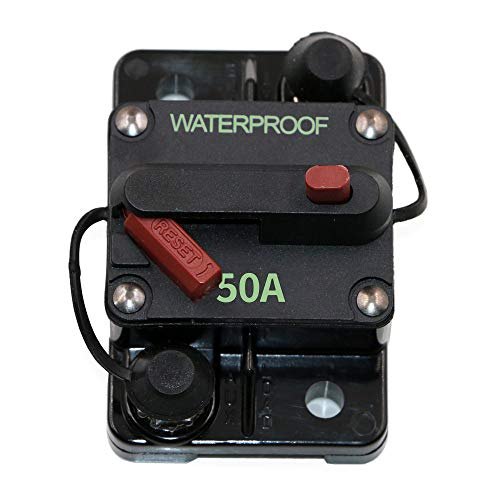 Ocean River 50-Amp Switchable Thermal Circuit Breaker, Waterproof and Dustproof Surface-Mount Red Button Trolling with Manual Reset, 12V- 48V DC(50A)